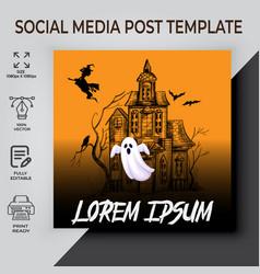 Halloween social media post template vector