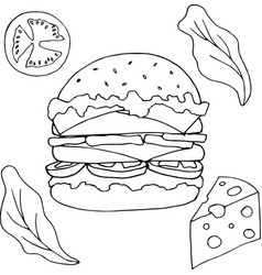 hamburger set vector image