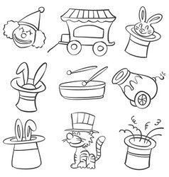 hand draw circus element doodles vector image