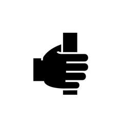 Hand holding icon black sign vector