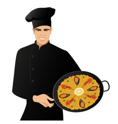 handsome spanish chef wearing a kitchen hat vector image