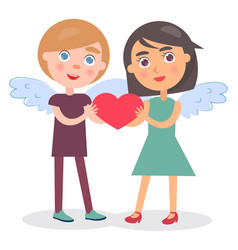 Happy couple hold heart in hands boy girl wings vector