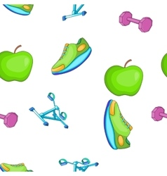Healthy lifestyle pattern cartoon style vector image