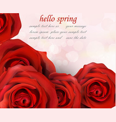 hello spring red roses romantic passional vector image