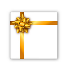Holiday gift box with golden ribbon and bow vector