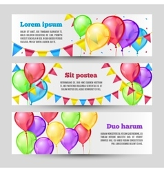 Horizontal holiday banners with color balloons vector image