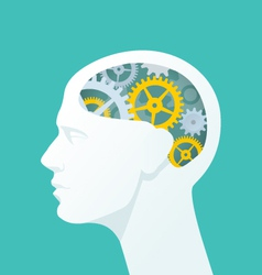Human head with gears Head thinking vector image