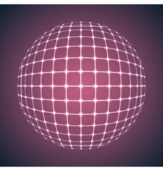 Illuminated Purple Mesh Sphere vector image