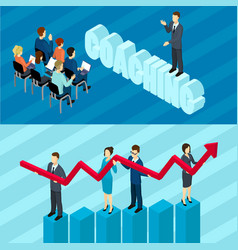 isometric business education horizontal banners vector image