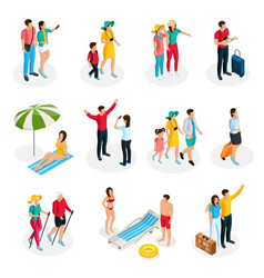 Isometric travelers characters set vector