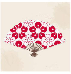 japanese fan red and white sakura painting vector image