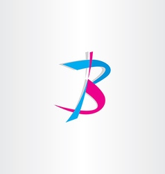 letter b logo cyan magenta icon vector image