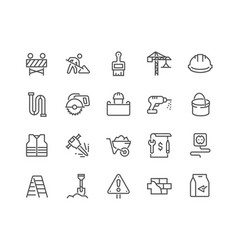 line construction icons vector image