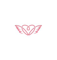 Love blood and wings for care logo design vector