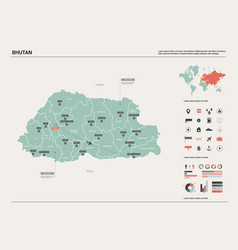 Map bhutan high detailed country vector