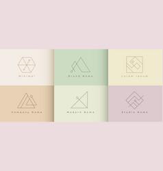 minimal logo design set six template vector image