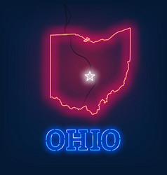 neon map state of ohio on dark background vector image