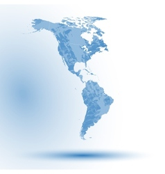 North and South America map on blue background vector image vector image