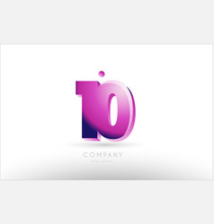 number 10 ten black white pink logo icon design vector image
