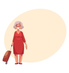 Old senior woman in red dress with suitcase in vector