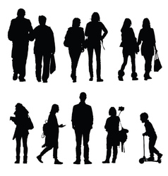 people silhouette walking and couple vector image