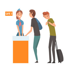 people standing in queue with suitcases for vector image