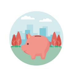 piggy money saving cartoon vector image
