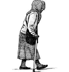 Poor elderly woman vector