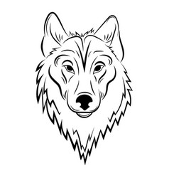 portrait a wolf black and white vector image