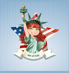 Poster with beautiful statue liberty on usa flag vector