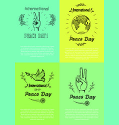 Posters for international peace day vector