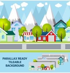 Provincial town landscape parallax ready vector