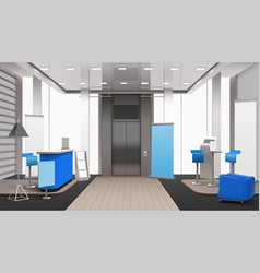 Realistic lobby interior blue elements vector