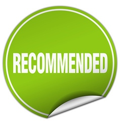 Recommended round green sticker isolated on white vector