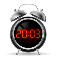 Retro round alarm clock with modern digital face vector