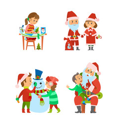 santa claus and helper children on winter holidays vector image