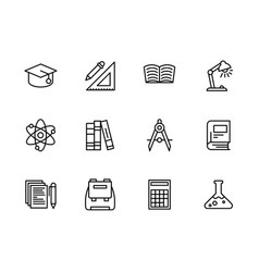 Science and education outline icon simple symbols vector