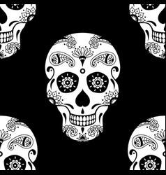 seamless pattern of white sugar skull vector image