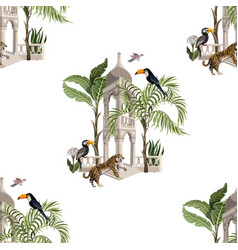 seamless pattern with ancient arbor and wild vector image