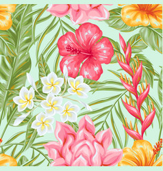 Seamless pattern with tropical flowers and leaves vector