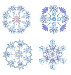 Set circular floral ornaments patterns vector