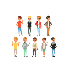 set cute boys characters dressed in stylish vector image