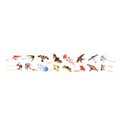 set flying wind kites different type vector image