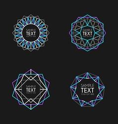 Set of Abstract Retro Geometric Line Art vector