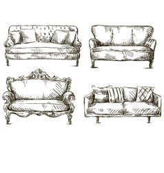 Set of sofas drawings sketch style vector