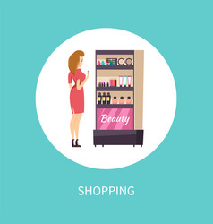 shopping beauty products makeup poster vector image