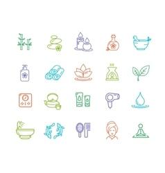 Spa Outline Color Icon Set vector