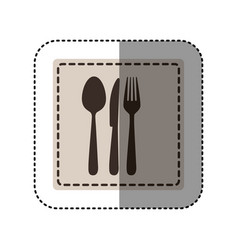Sticker monochrome square with cutlery vector