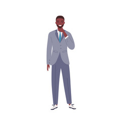 stylish african american businessman thinking vector image