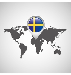 sweden flag pin map design vector image